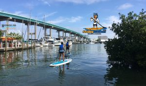 matanzas pass bridge and paddlers - mage
